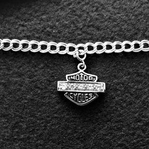 H D resembling oxidized CZ charm chain Bracelet